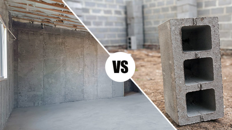 poured concrete walls vs block wall foundations